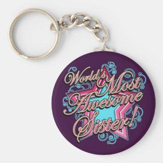 Worlds Best Sister Basic Round Button Keychain