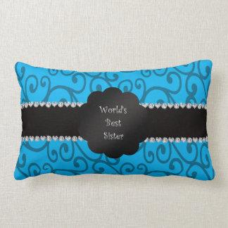 World's best sister blue swirls throw pillow