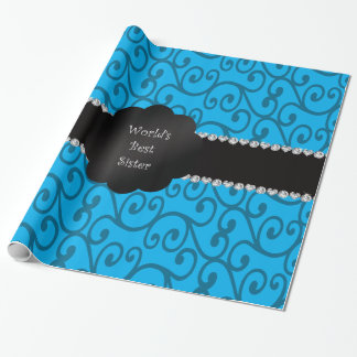 World's best sister blue swirls wrapping paper