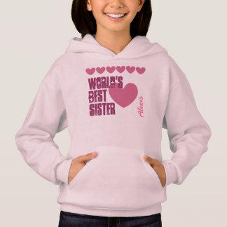 World's Best Sister Custom Name Hearts V01F PINK Hoodie