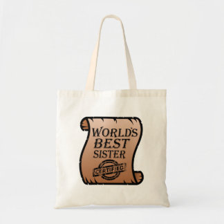 World's Best Sister Funny Certificate Tote Bag