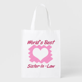 World's Best Sister-In-Law (Heart) Reusable Grocery Bag