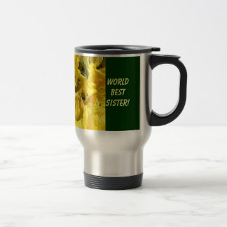 World's Best Sister! mug gifts Yellow Rhodies