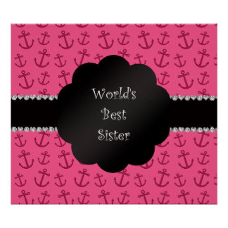 World's best sister pink anchors poster