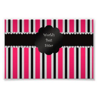 World's best sister pink black stripes photo art