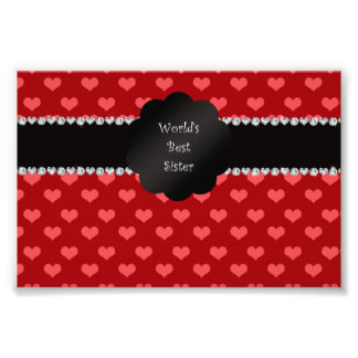 World's best sister red hearts photo print