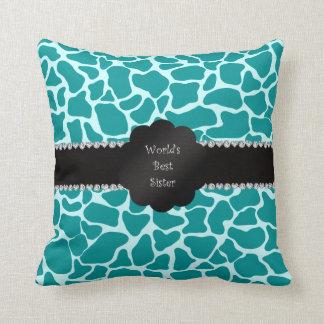 World's best sister turquoise giraffe throw pillows