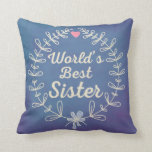 World's Best Sister Wreath Pillow Gift