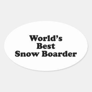 World's Best Snow Boarder Oval Sticker