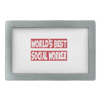 World's Best Social Worker. Rectangular Belt Buckle