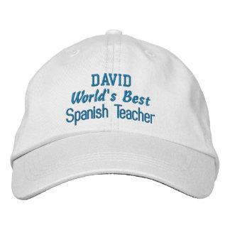 World's Best SPANISH TEACHER Custom Name BLUE Embroidered Baseball Hat