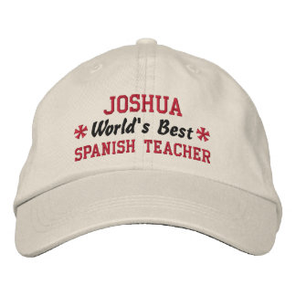 World's Best SPANISH TEACHER Custom Name V08 Cap