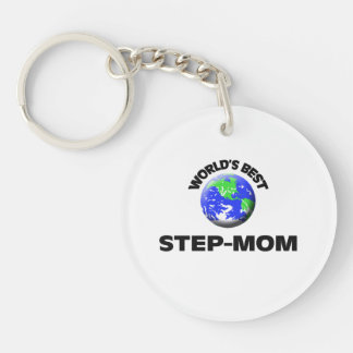 World's Best Step-Mom Single-Sided Round Acrylic Keychain