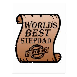 World's Best Stepdad Certified Certificate Funny Postcard