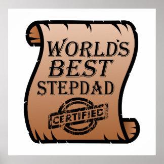 World's Best Stepdad Certified Certificate Funny Poster