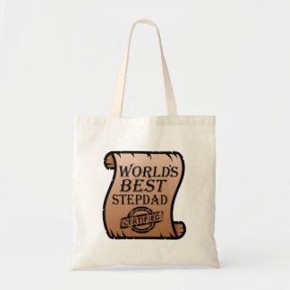 World's Best Stepdad Certified Certificate Funny Tote Bag