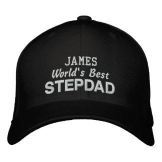 World's Best STEPDAD Custom Name BLACK Embroidered Baseball Cap