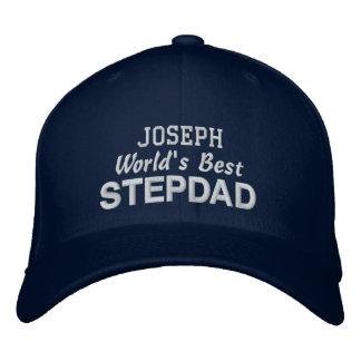 World's Best STEPDAD Custom Name BLUE 02 Embroidered Baseball Hat