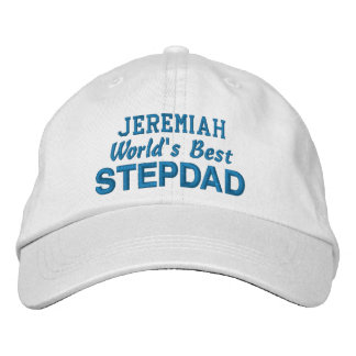 World's Best STEPDAD Custom Name BLUE Embroidered Baseball Hat