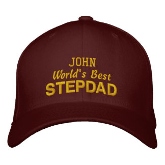 World's Best STEPDAD Custom Name MAROON 03 Embroidered Baseball Hat