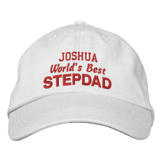World's Best STEPDAD Custom Name RED Embroidered Baseball Hat