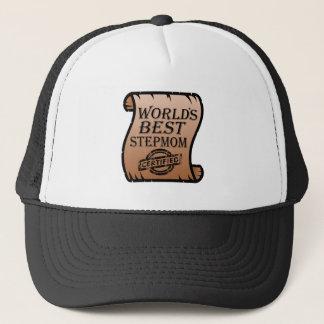World's Best Stepmom Certified Certificate Funny Trucker Hat