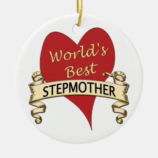 World's Best Stepmother Double-Sided Ceramic Round Christmas Ornament