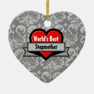 World's Best Stepmother Red Heart and Ribbon V05 Christmas Tree Ornaments