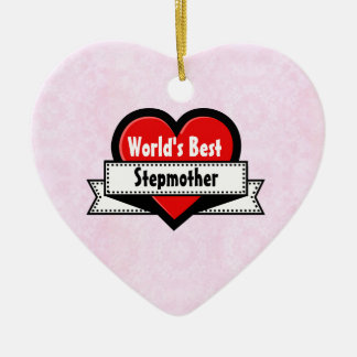World's Best Stepmother Red Heart and Ribbon V06 Christmas Tree Ornament
