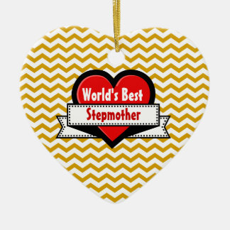 World's Best Stepmother Red Heart and Ribbon V09 Christmas Tree Ornament