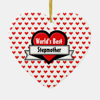 World's Best Stepmother Red Heart and Ribbon V12 Christmas Ornament