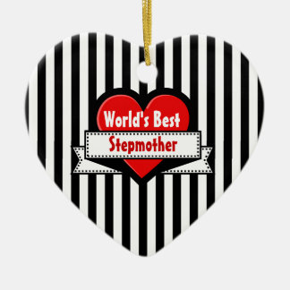 World's Best Stepmother Red Heart and Ribbon V20 Christmas Tree Ornaments