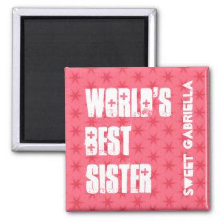 World's Best  SUSTER Custom Name Pink Stars Magnet