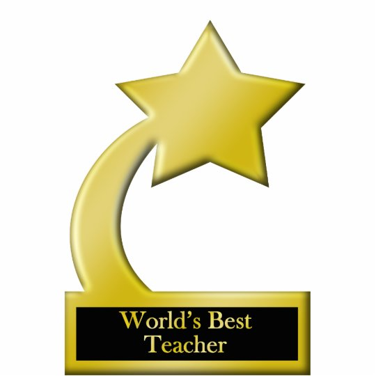 world s best teache gold star award trophy cutout zazzle com