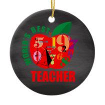 World's Best Teacher Apple | Chalkboard Math Ceramic Ornament