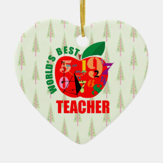 World's Best Teacher Apple Math Geometry Christmas Tree Ornament