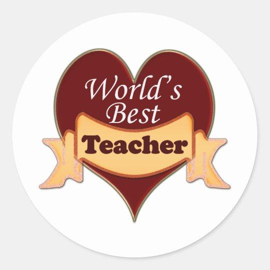 World's Best Teacher Classic Round Sticker