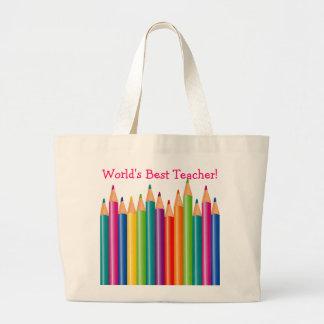 World's Best Teacher Colored Pencils2 Large Tote Bag