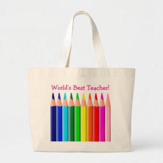World's Best Teacher Colored Pencils Large Tote Bag