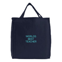 WORLDS BEST TEACHER EMBROIDERED TOTE BAG