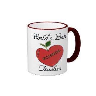 World's Best Teacher Ringer Coffee Mug