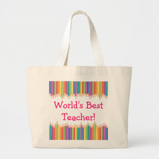World's Best Teacher Pencil Tips Large Tote Bag