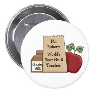 World's Best Teacher!-Personalize Name/Grade Pinback Button