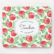 World's Best Teacher | Personalized Apple Pattern Mouse Pad