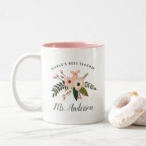 World's Best Teacher | Personalized Floral Two-Tone Coffee Mug