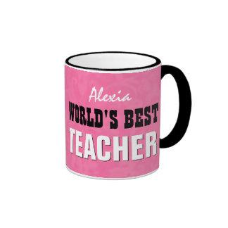World's Best TEACHER Pink Grunge V26 Ringer Coffee Mug