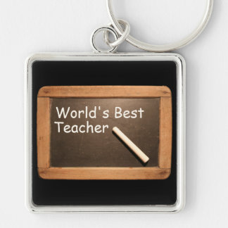 World's best Teacher - Rustic Vintage School Slate Silver-Colored Square Keychain