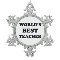 World's Best Teacher Snowflake Pewter Christmas Ornament