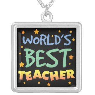 World's Best Teacher Square Necklace