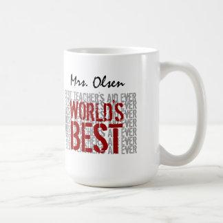 World's Best Teacher's Aide Ever Red Gray White Mug